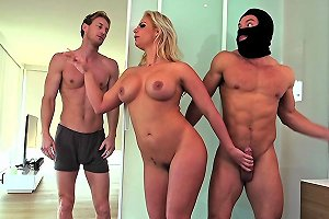 Curvy Milf Fucked By A Burglar With Her Husband In The Bed
