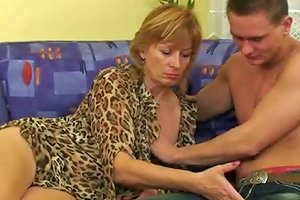 Young Jerk Loved To Caress And Fuck Granny On The Couch